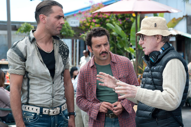 From left, actors Bobby Cannavale and Max Casella and director Woody Allen on the set of Blue Jasmine
